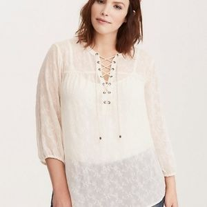 torrid embroidered chiffon lace-up blouse